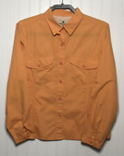 WOOLRICH Womens Medium 3XDRY Orange Outdoor Vented L/Sleeve Casual Cotton Top