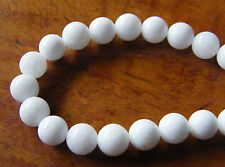 50pcs 8mm Round Gemstone Beads - Malaysian Jade - Opaque White