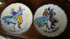 VNTG SQUARE DANCE, PROMENADE THE HALL, DO-SI-DO, HAND-PAINTED DECORATOR PLATES