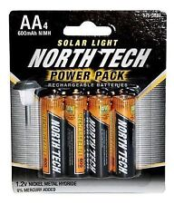 16 North Tech AA Rechargeable Solar Light Batteries 600mah NiMH Same Day Ship