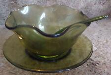 Indiana Glass Co. Gourmet Salad Set Olive 1789, Original Box, Complete Set