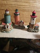 """5""""T Miniature Lighthouse Country Decor Resin K's Collection Lot Of 3 Felt Bottom"""
