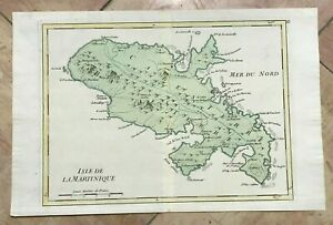 MARTINIQUE ANTILLES 1748 by LE ROUGE ANTIQUE ENGRAVED MAP 18e CENTURY