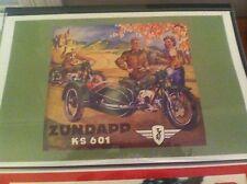 Vintage Zundapp Motorcycle Art Poster Man Cave Garage Art Fathers Day