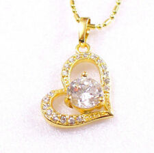 Women Lady 14K Yellow Gold Plated CZ Necklace Heart Love Charm Clear UK