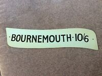 "Vintage Bus Coach Metal Destination / Price A-Board Sign Plate ""Bournemouth"" #2"