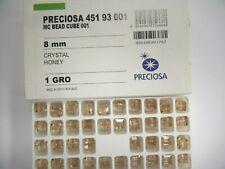 24 preciosa square shape crystal beads,8mm honey color