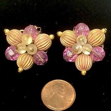 Old Costume Jewelry Earrings Bead Clusters Purple, Crystal & Gold Colors Clip-On