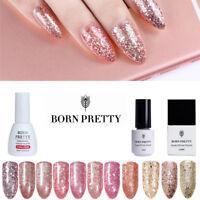 5/10ml Born Pretty UV Gel Nail Polish Soak off Rose Gold Glitter Gel Varnish DIY
