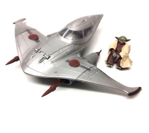 "STAR WARS Clone Wars YODA 3.75"" Jedi figure with Naboo Skiff toy vehicle set"
