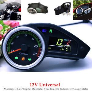 12V Motorcycle LCD Digital Odometer Speedometer Tachometer Gauge Meter Black