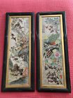 Chinese painting on porcelain framed pair Wall Plaque