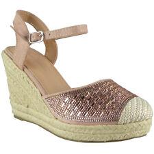 d0d2b41679e Womens Ladies Hessian Espadrilles Platform Shoes High Heel Wedge Sandals  Size UK 4   EU 37