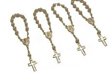 24pc Mini Rosary Christening Communion Party Favor Silver Plated Pearl Decenario