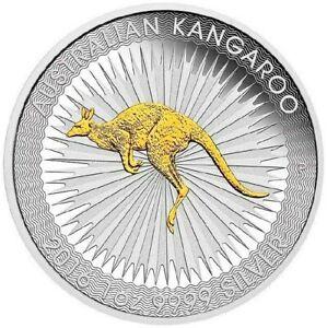 Australian First Gilded 2016 Kangaroo Proof Silver 1 oz Dollar $1 Coin Australia