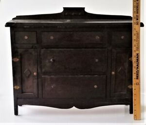 "antique wood CHILD DOLL 21"" SALESMAN SAMPLE art deco wood FURNITURE chest BUFFET"