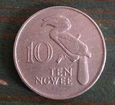 1987 Zambia 10 Ngwee Coin Crowned Hornbill Bird Africa Zambian