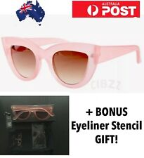 Cat Eye Sunglasses Retro Style Sunnies In PINK + BONUS Cat Makeup Liner Stencil