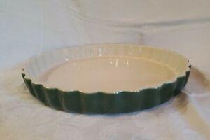 "Emile Henry France Quiche Tarte Clafoutis 11"" Green Stoneware New/Unused #60.00"