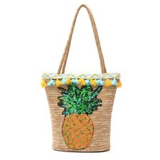 Women Shoulder Bag Rattan Straw Exquisite Sequins Pineapple Printing Totes Purse