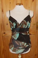 QUIZ brown aqua stretch floral chiffon asymmetric camisole vest tunic top 12 40