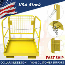 "Forklift Safety Cage Work Platform Basket 36""x36"" Heavy Duty Steel Collapsible"