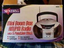 New Sentry Mini Boom Box AM/FM Radio With 5 Function Clock