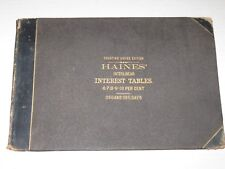 Old 1874 R.C. Haines' Interlinear Interest Tables Book - Dates, Percentages, etc