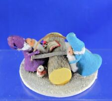 Unusual Japanese Two Santa'S Sawing Log Christmas Candy Container