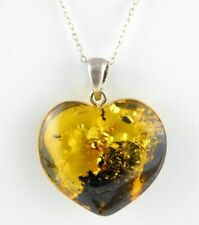 Yellow Amber Heart Pendant Necklace Sterling Silver Bail and Chain 925 18 Inches