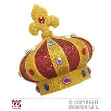 Mini Glitter Crowns With Gems - W King Queen Fancy Dress Costume Hat