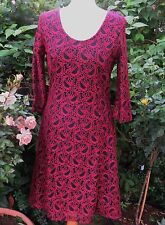 FABULOUS BNWT JOE BOWNS BLACK AND RED LACEY FIT AND FLARE DRESS SIZE 12 CHEST 36