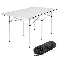 ALUMINIUM FOLDING PORTABLE CAMPING TABLE ROLL TOP PICNIC GARDEN PARTY 140x70cm