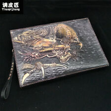 NEW Fashion Genuine Leather hand painted  tranditional dragon handbag