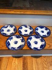 "S/5 Antique Flow Blue Royal Staffordshire Arcadia Plates 7 3/4"" Burslem England"
