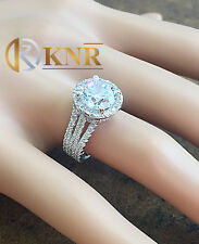Large 14k White Gold Round Cut Moissanite Diamond Engagement Ring Halo 3.80ct