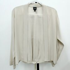Eileen Fisher Cream 100% Silk Open Front Jacket and Pants 2Pc Set Size S