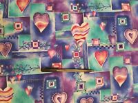 Soft scrub cotton hearts patchwork print Fabric by the yard