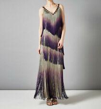 PHASE EIGHT Tina Fringe Purple Bodycon Maxi Cocktail Evening Dress Size UK 14