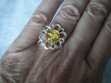 Baltic Champagne Amber ring, size L/M, 10mm round, 2.45 grams 925 Sterling Silve