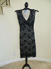 Ruby Black Nude Floral Lace Cocktail Party Formal Knee Lenght Dress Size S