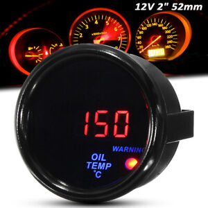 2'' 52mm Universal Digital Oil Temperature Gauge  Led Oil Temp Meter Black Face