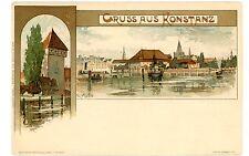 Gruss aus Konstanz Germany -VIEW FROM RIVER- K Mutter Postcard