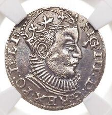 POLAND, Riga. Sigismund III, 1589-GE, Silver 3 Grochen, NGC AU Details