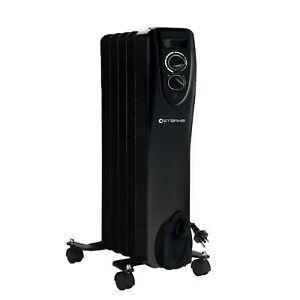 Starke Electric Heater Column Black 3 Heat Settings Thermostat Oil 5 Fin 1000W