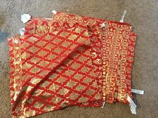 Anthropologie table napkins cocktail napkins set of 12 red and gold design NWT
