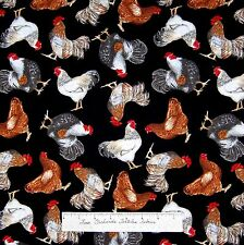 Farm Fabric - Country Hen Rooster Toss Black - Timeless Treasures Cotton YARD