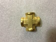 "10x: Brass Pipe Female Cross 1/4"" NPT All Female"