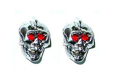 Guitar Hardware SKULL KNOBS Set of 2 - CHROME w/ RED EYES