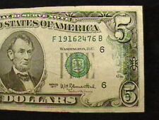 ERROR $5 FIVE DOLLAR BILL, PARTIAL OVERPRINT, DARK INK